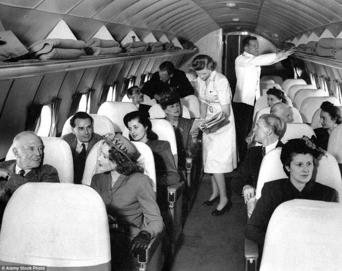 In the late 1940s flight attendants wore dresses that hung just below the knee and matching shoes and hats completed the look