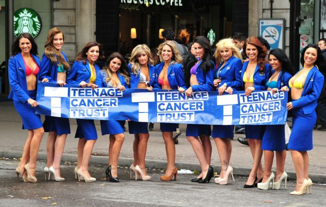 Mandatory Credit: Photo by Julian Makey/REX (3235581d)  Eleven of the calendar girls in uniform at Victoria Station  Ryanair and Teenage Cancer Trust launch the 2014 Ryanair Cabin Crew Charity Calendar, London, Britain  - 23 Oct 2013  Ryanair cabin crew have selected the Teenage Cancer Trust as their charity partner for 2014 and hope to raise 100,000 euros from the sale of the calendar.