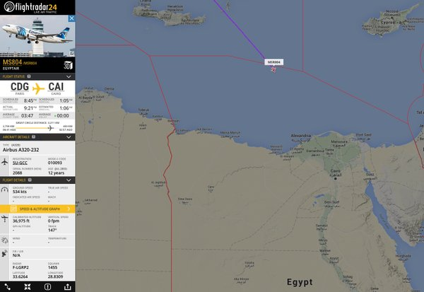 EgyptAir MS804 last record on radar
