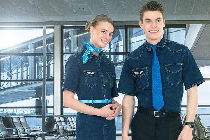 Seragam Pramugari Maskapai Anyar Prancis Pakai Bahan Jeans, frenc blue uniform