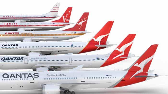 Logo Qantas dari tahun ke tahun